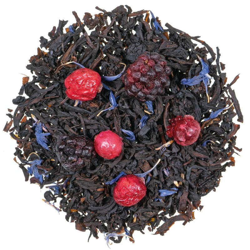 Thé noir mûres fruits rouges fruits des bois
