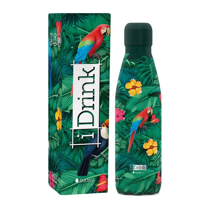Gourde Thermos Perroquet 500 ml acier inoxydable I-Drink