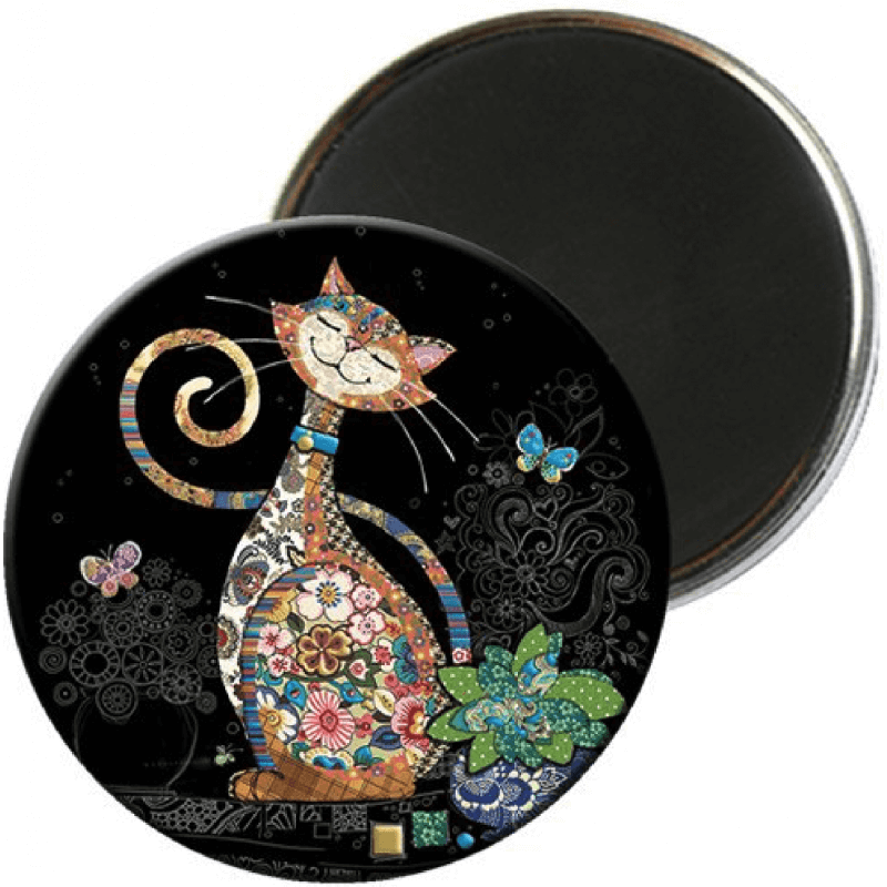 Magnet rond Bug Art Jewels chat papillon -Kiub