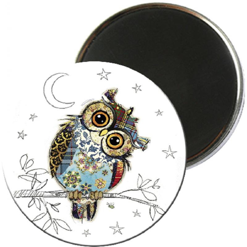 Magnet rond aimanté chouette lune street foliz hibou-Kiub