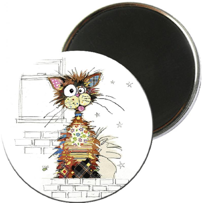 Magnet rond aimanté chat écaille tortue foliz street-Kiub
