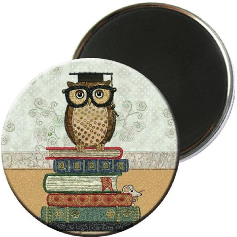 Magnet rond aimanté chouette hibou intellectuel-Kiub