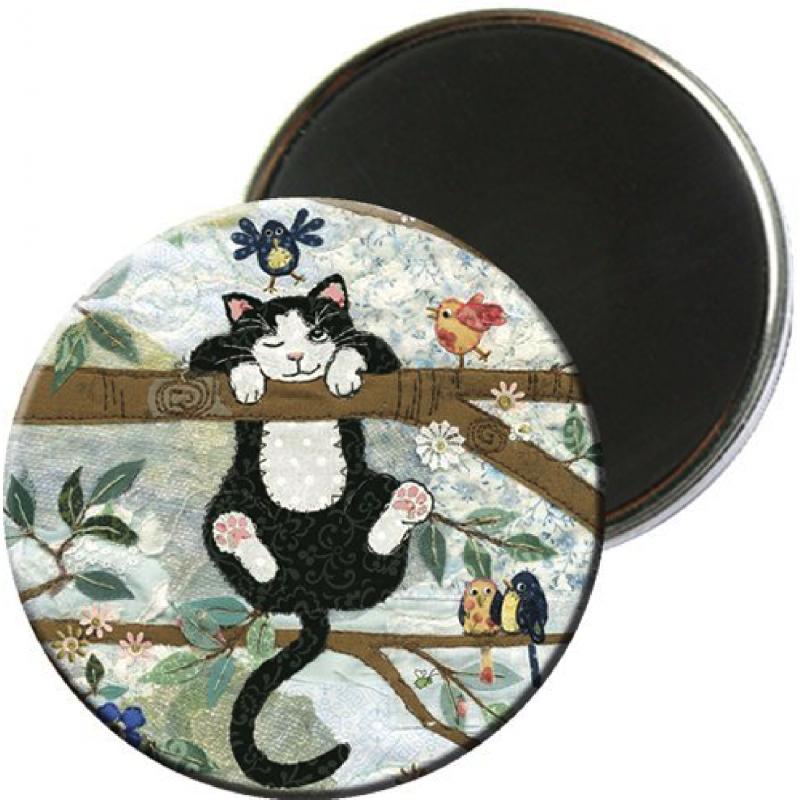Magnet rond aimanté chat perché-Kiub