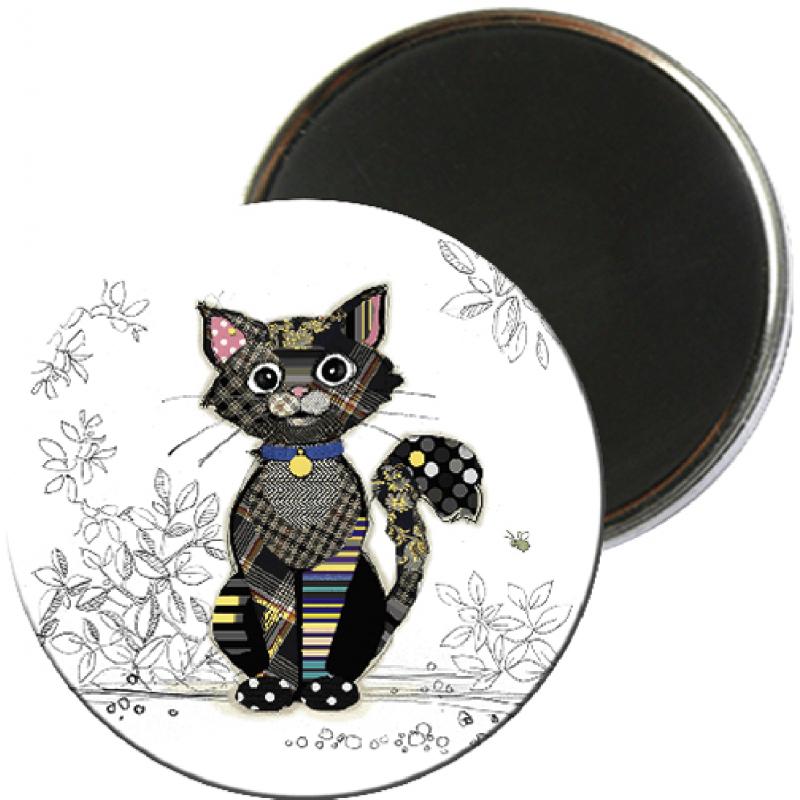 Magnet rond aimanté chat noir foliz street-Kiub