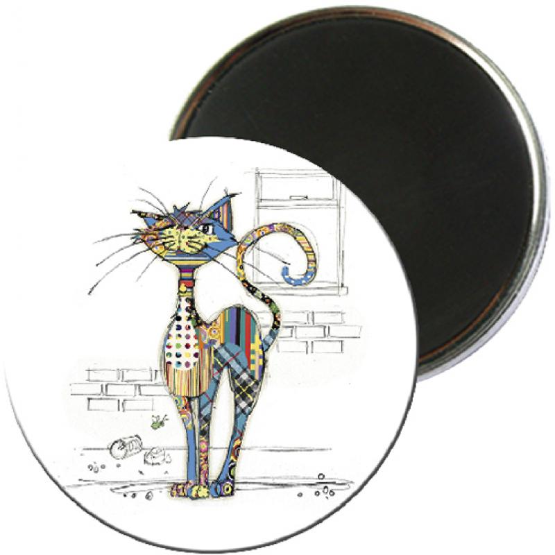 Magnet rond aimanté chat blanc foliz street-Kiub