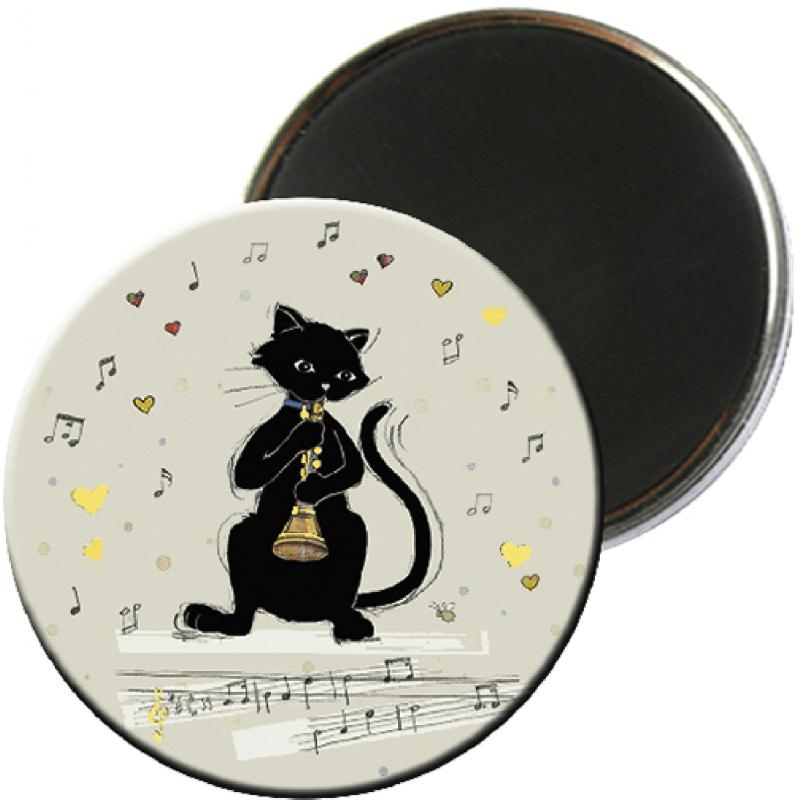 Magnet rond aimanté chat noir flûte musicien-Kiub