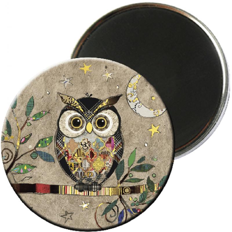 Magnet rond aimanté chouette lune hibou-Kiub