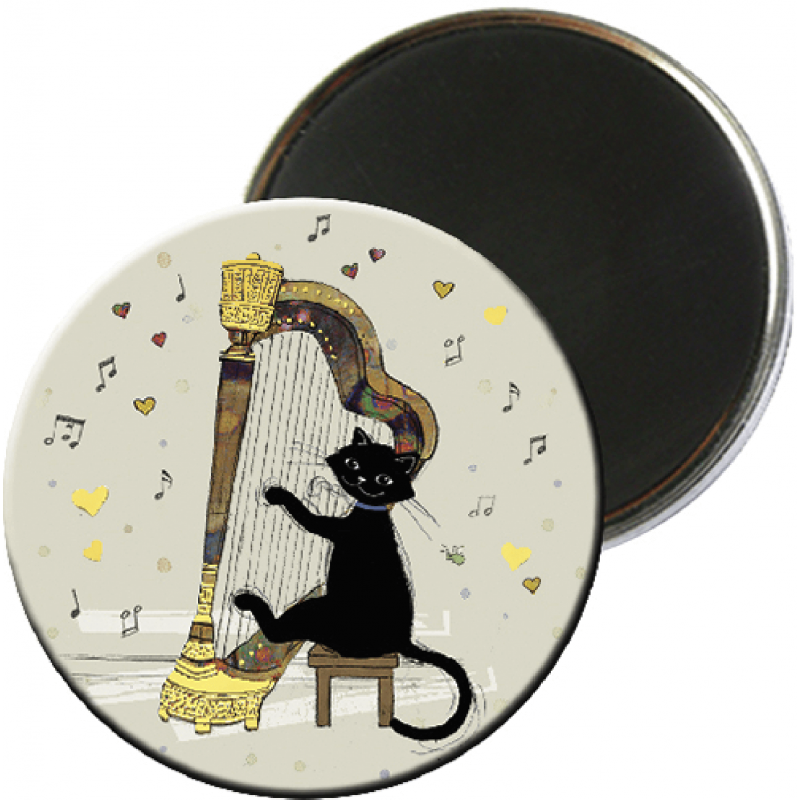 Magnet rond aimanté chat noir harpe musicien-Kiub
