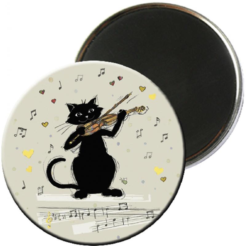 Magnet rond aimanté chat noir violon musicien-Kiub