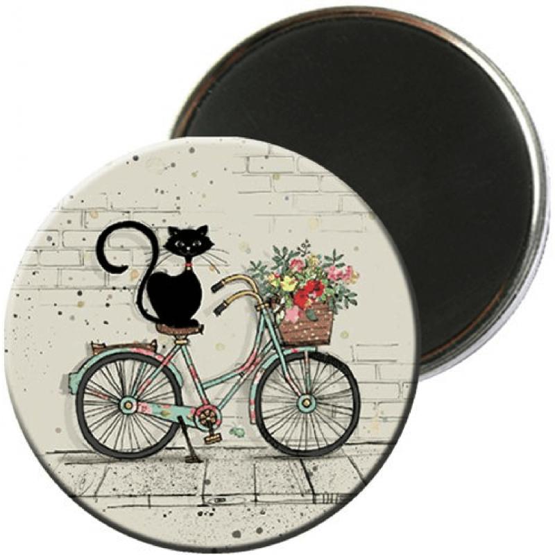Magnet rond aimanté chat vélo-Kiub