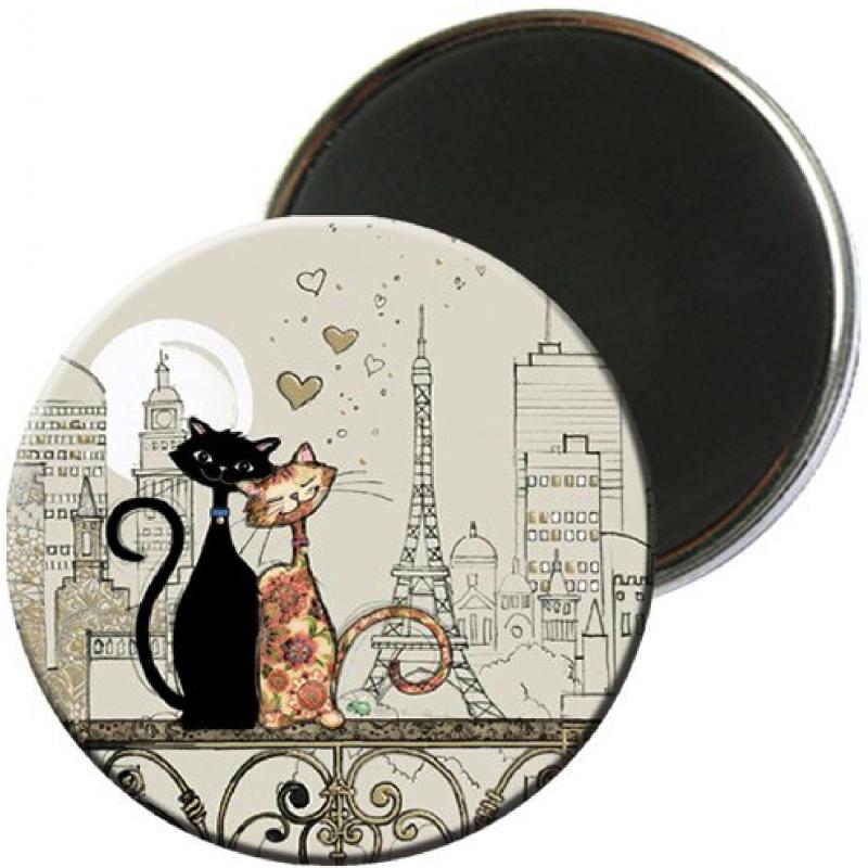 Magnet rond aimanté chat love Paris-Kiub