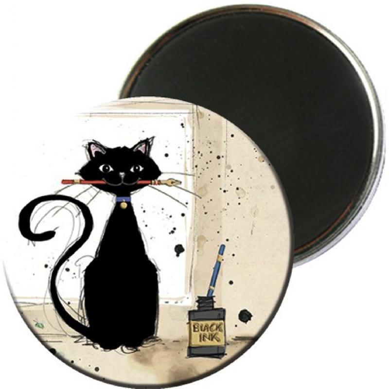 Magnet rond aimanté chat peintre artiste-Kiub
