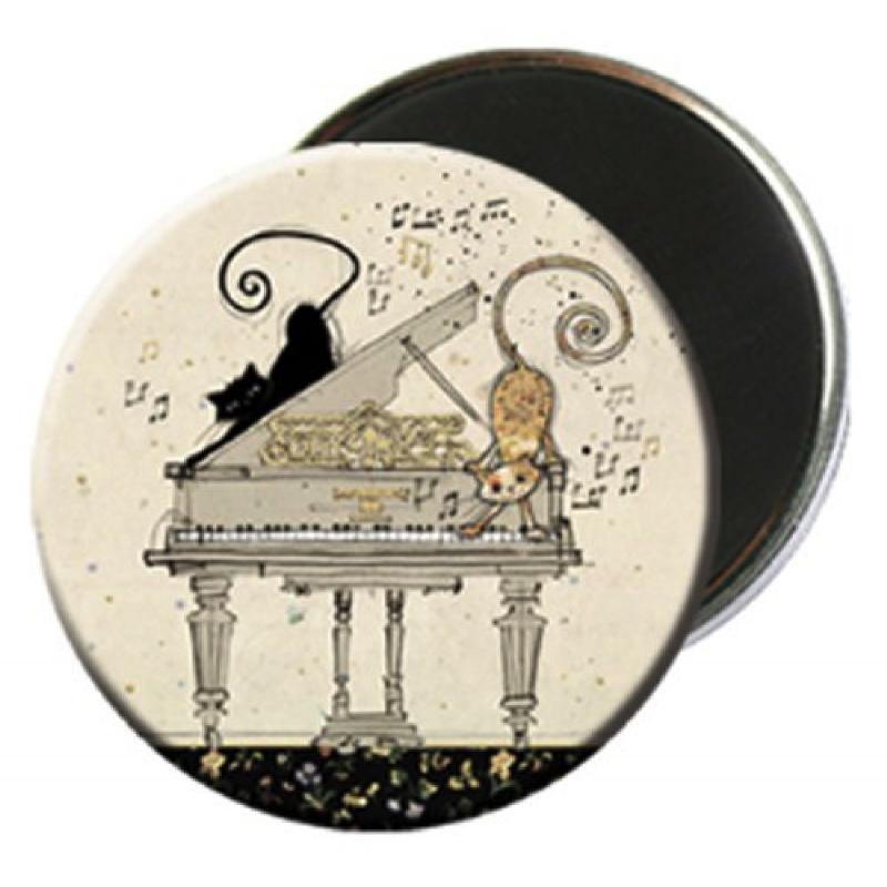 Magnet rond aimanté chat noir et blanc musicien-Kiub