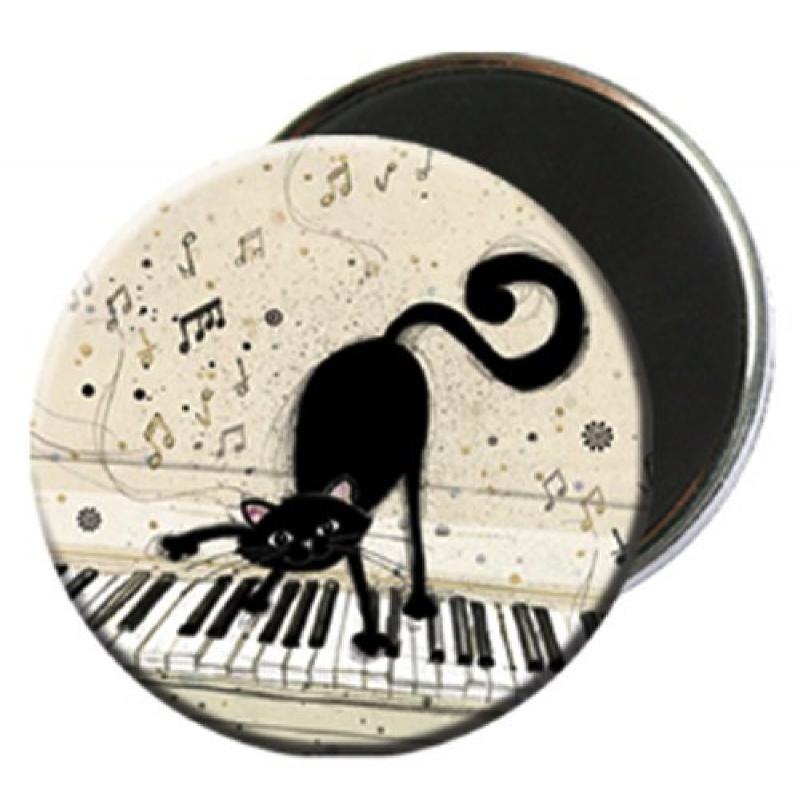 Magnet rond aimanté chat noir piano-Kiub