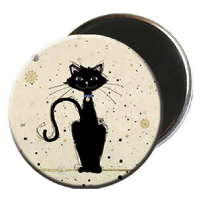 Magnet rond aimanté chat noir medaillon-Kiub