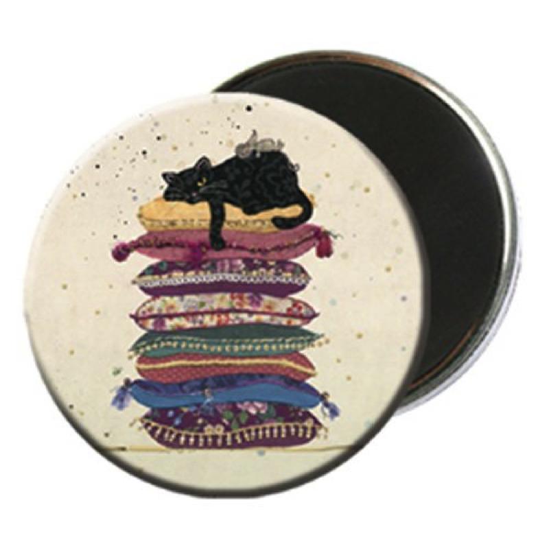 Magnet rond aimanté chat noir fainéant-Kiub