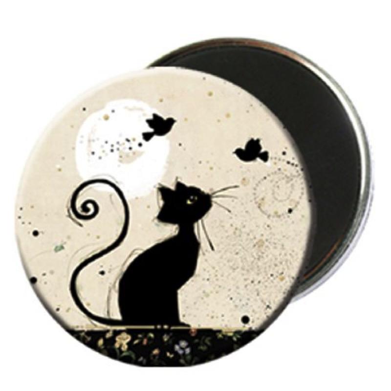 Magnet rond aimanté chat noir oiseaux-Kiub