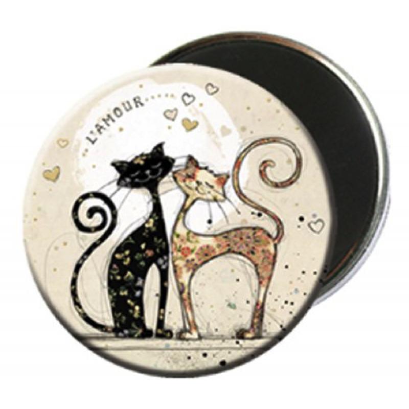 Magnet rond aimanté chat love -Kiub