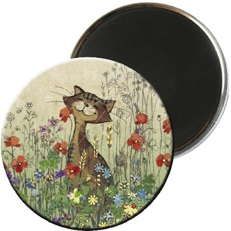 Magnet rond aimanté chat coquelicot-Kiub