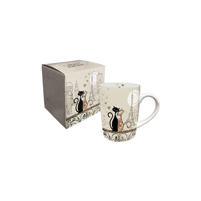 Mug en porcelaine boite cadeau 25 cl BUG ARTS Cat's Love Paris