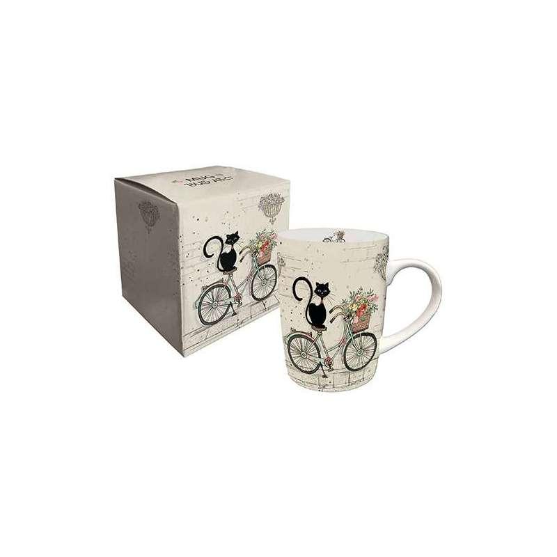 Mug en porcelaine boite cadeau 25 cl BUG ARTS Cat's bike